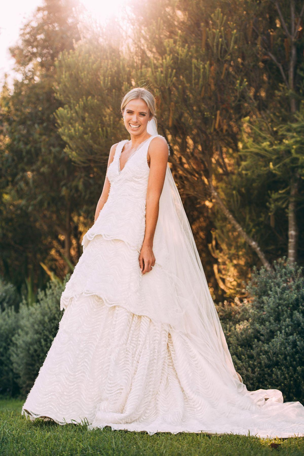 Sylvia Jeffreys's wedding dress designer Rebecca Vallance