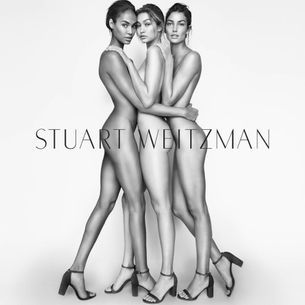 Gigi Hadid, Lily Aldridge and Joan Smalls wear only shoes in this campaign