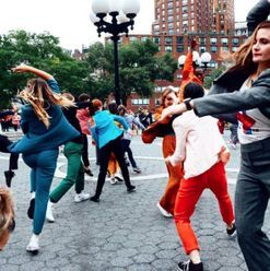 There was a pantsuit-clad flashmob in New York City this week