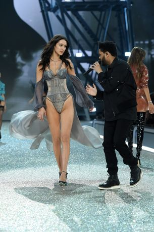 The Weeknd just serenaded Bella Hadid on the Victoria's Secret runway